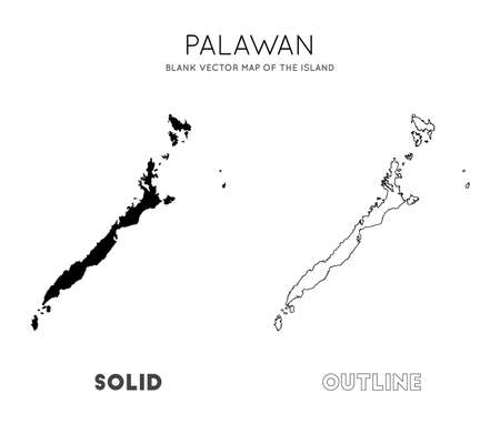 Palawan map. Blank vector map of the Island. Borders of Palawan for your infographic. Vector illustration.