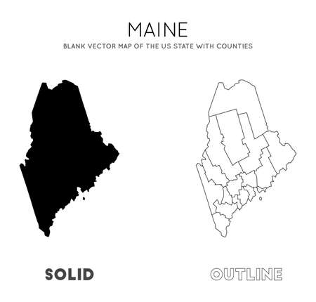 Maine map. Blank vector map of the Us State with counties. Borders of Maine for your infographic. Vector illustration.