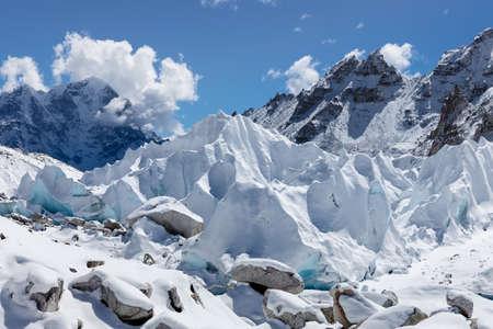 Close up of Khumbu glacier in Everest Base Camp, Himalayas, Nepal. Interesting photo. Stock fotó