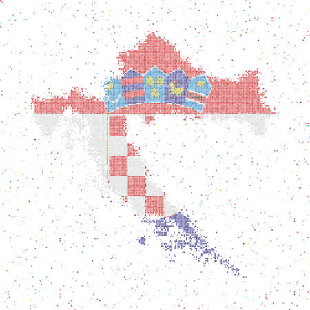 Map of Croatia. Mosaic style map with flag of Croatia. Vector illustration.