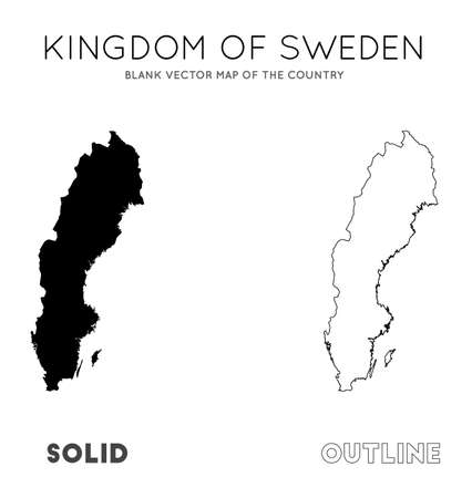 Sweden map. Blank vector map of the Country. Borders of Sweden for your infographic. Vector illustration. Banco de Imagens - 130110254