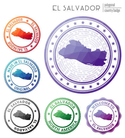 Republic of El Salvador badge. Colorful polygonal country symbol. Multicolored geometric Republic of El Salvador  set. Vector illustration.  イラスト・ベクター素材