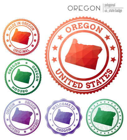 Oregon badge. Colorful polygonal us state symbol. Multicolored geometric Oregon set. Vector illustration. Illusztráció