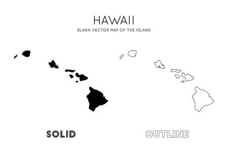 Hawaii map. Blank vector map of the Island. Borders of Hawaii for your infographic. Vector illustration.