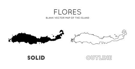 Flores map. Blank vector map of the Island. Borders of Flores for your infographic. Vector illustration.