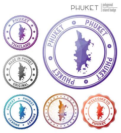 Phuket badge. Colorful polygonal island symbol. Multicolored geometric Phuket set. Vector illustration.
