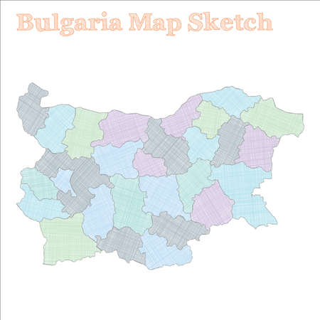 Bulgaria map. Hand-drawn country. Bizarre sketchy Bulgaria map with regions. Vector illustration.