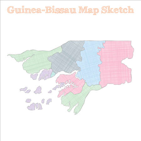 Guinea-Bissau map. Hand-drawn country. Great sketchy Guinea-Bissau map with regions. Vector illustration. Иллюстрация