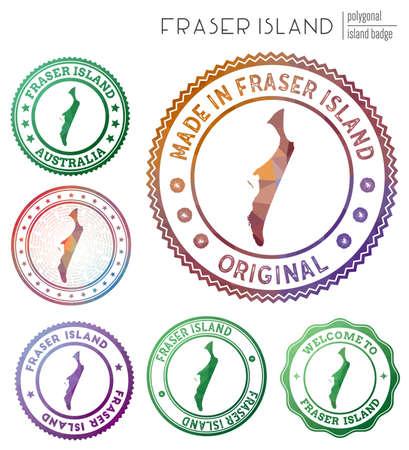 Fraser Island badge. Colorful polygonal island symbol. Multicolored geometric Fraser Island set. Vector illustration.