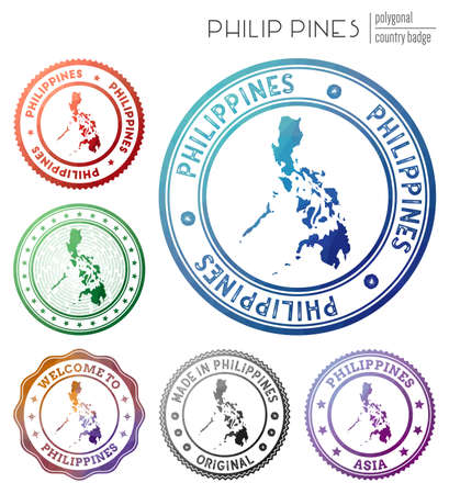 Philippines badge. Colorful polygonal country symbol. Multicolored geometric Philippines  set. Vector illustration.