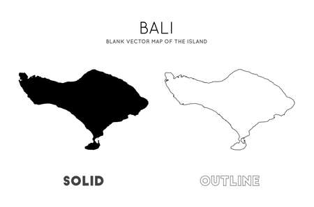 Bali map. Blank vector map of the Island. Borders of Bali for your infographic. Vector illustration.