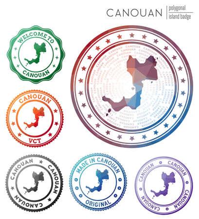 Canouan badge. Colorful polygonal island symbol. Multicolored geometric Canouan  set. Vector illustration.