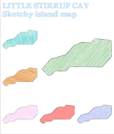 Little Stirrup Cay sketchy island. Authentic hand drawn island. Beautiful childish style Little Stirrup Cay vector illustration.  イラスト・ベクター素材
