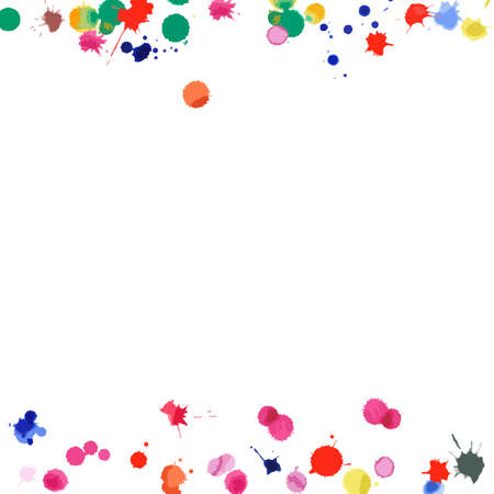 Watercolor confetti on white background. Rainbow colored blobs square borders. Colorful bright hand painted illustration. Happy celebration party background. Adorable vector illustration.