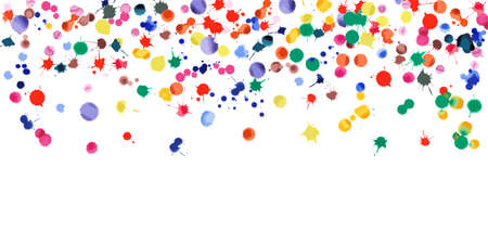 Watercolor confetti on white background. Rainbow colored blobs wide gradient. Colorful bright hand painted illustration. Happy celebration party background. Unequaled vector illustration.
