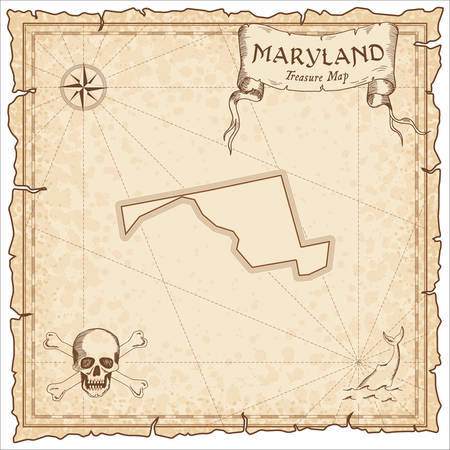 Maryland pirate map. Ancient style map template. Old us state borders. Vector illustration.  イラスト・ベクター素材