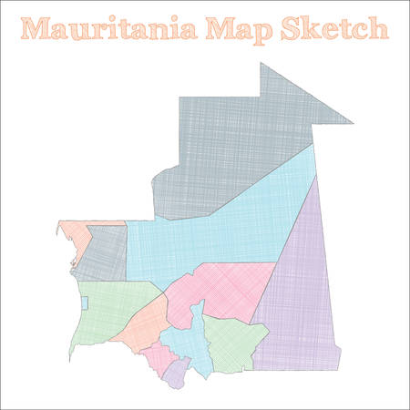 Mauritania map. Hand-drawn country. Sublime sketchy Mauritania map with regions. Vector illustration. Banco de Imagens - 130110923