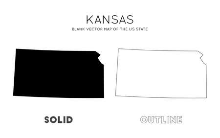 Kansas map. Blank vector map of the Us State. Borders of Kansas for your infographic. Vector illustration.