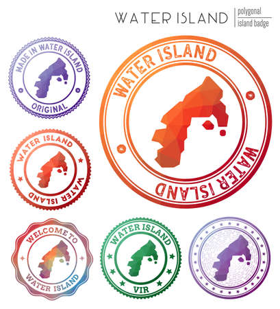 Water Island badge. Colorful polygonal island symbol. Multicolored geometric Water Island  set. Vector illustration.