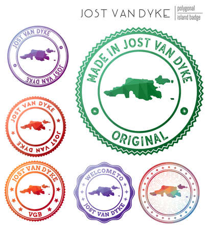 Jost Van Dyke badge. Colorful polygonal island symbol. Multicolored geometric Jost Van Dyke  set. Vector illustration.