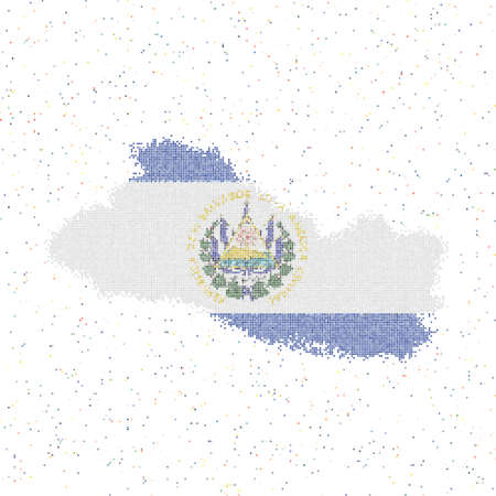 Map of Republic of El Salvador. Mosaic style map with flag of Republic of El Salvador. Vector illustration.