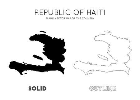 Haiti map. Blank vector map of the Country. Borders of Haiti for your infographic. Vector illustration.  イラスト・ベクター素材