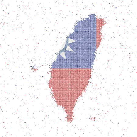 Map of Taiwan. Mosaic style map with flag of Taiwan. Vector illustration. 일러스트