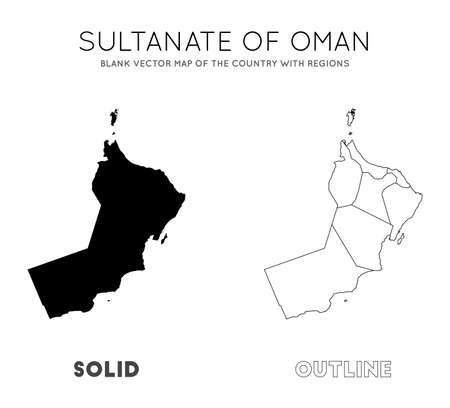Oman map. Blank vector map of the Country with regions. Borders of Oman for your infographic. Vector illustration. Иллюстрация
