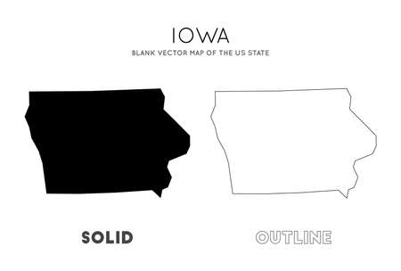 Iowa map. Blank vector map of the Us State. Borders of Iowa for your infographic. Vector illustration.  イラスト・ベクター素材