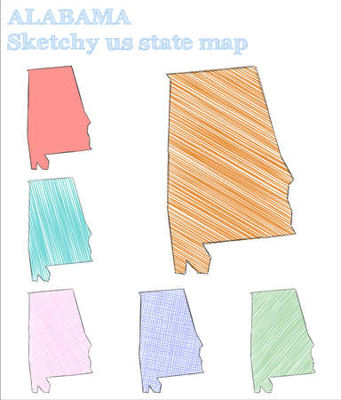 Alabama sketchy us state. Enchanting hand drawn us state. Grand childish style Alabama vector illustration.