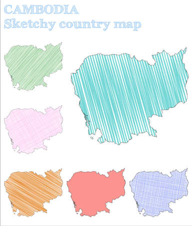 Cambodia sketchy country. Noteworthy hand drawn country. Optimal childish style Cambodia vector illustration.