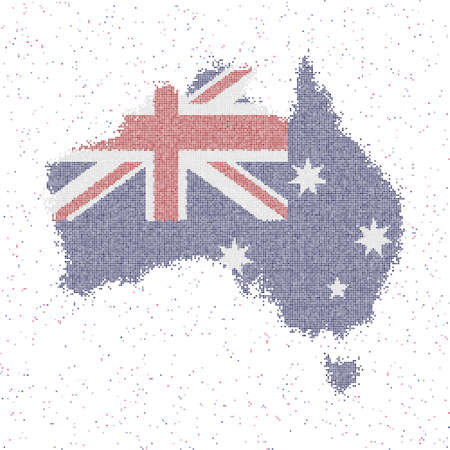 Map of Australia. Mosaic style map with flag of Australia. Vector illustration.