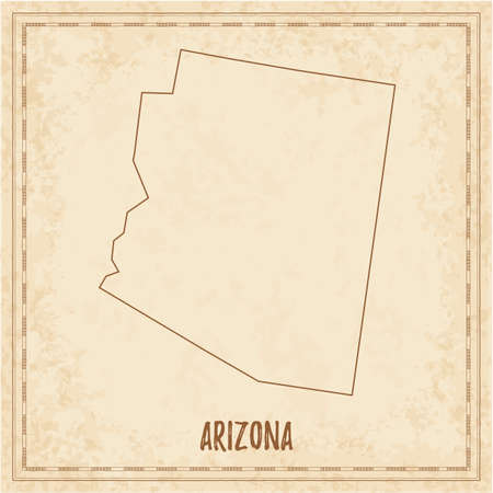Pirate map of Arizona. Blank vector map of the Us State. Vector illustration.
