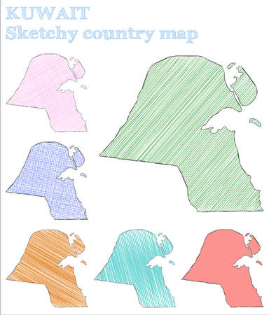 Kuwait sketchy country. Outstanding hand drawn country. Overwhelming childish style Kuwait vector illustration.
