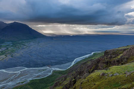 Aerial view of moraine glacier river in South Iceland. Comely photo.