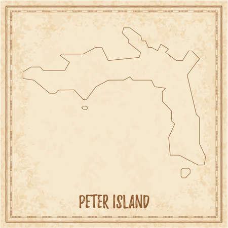 Pirate map of Peter Island. Blank vector map of the Island. Vector illustration. Illusztráció