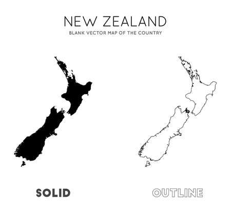 New Zealand map. Blank vector map of the Country. Borders of New Zealand for your infographic. Vector illustration.