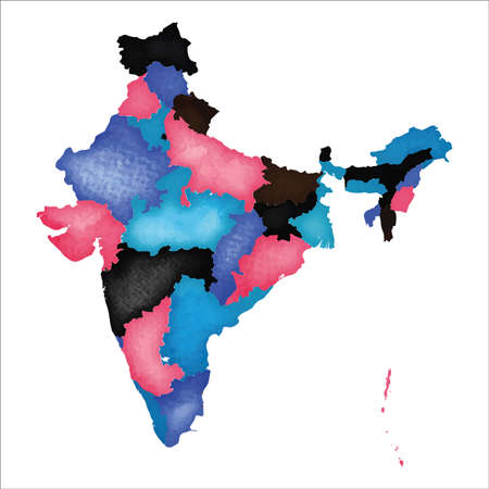 Map of India. Colourful watercolor India map. Interesting country vector illustration. Фото со стока - 130111157