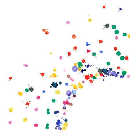 Watercolor confetti on white background. Rainbow colored blobs square corner. Colorful bright hand painted illustration. Happy celebration party background. Dramatic vector illustration. Illusztráció
