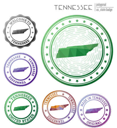 Tennessee badge. Colorful polygonal us state symbol. Multicolored geometric Tennessee set. Vector illustration. Illusztráció