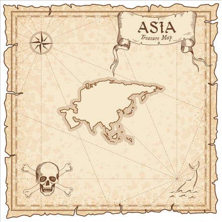 Mapa pirata de Asia. Plantilla de mapa de estilo antiguo. Fronteras del viejo continente. Ilustración vectorial.