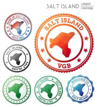 Salt Island badge. Colorful polygonal island symbol. Multicolored geometric Salt Island logos set. Vector illustration.