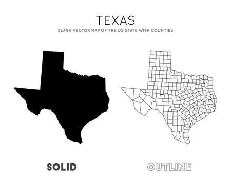Texas map. Blank vector map of the Us State with counties. Borders of Texas for your infographic. Vector illustration.
