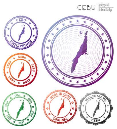Cebu badge. Colorful polygonal island symbol. Multicolored geometric Cebu set. Vector illustration. Ilustrace