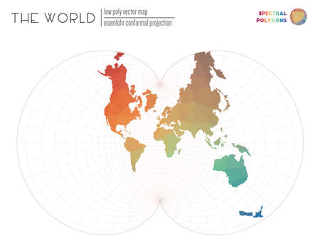 World map in polygonal style. Eisenlohr conformal projection of the world. Spectral colored polygons. Energetic vector illustration.