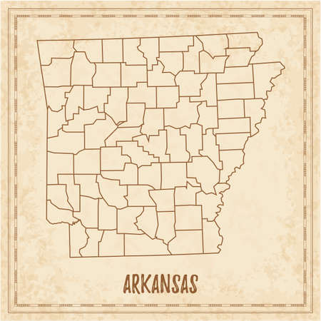 Pirate map of Arkansas. Blank vector map of the Us State with counties. Vector illustration.