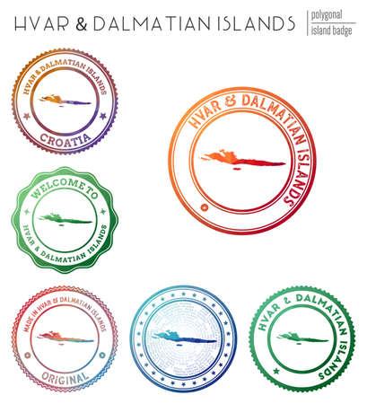 Hvar & Dalmatian Islands badge. Colorful polygonal island symbol. Multicolored geometric Hvar & Dalmatian Islands set. Vector illustration.