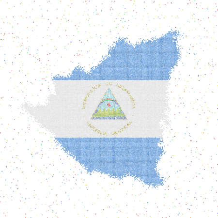 Map of Nicaragua. Mosaic style map with flag of Nicaragua. Vector illustration. Illusztráció