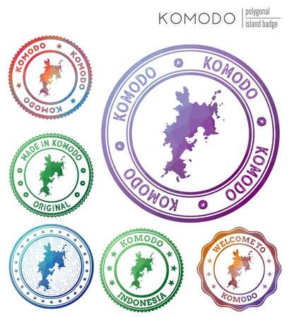 Komodo badge. Colorful polygonal island symbol. Multicolored geometric Komodo set. Vector illustration.