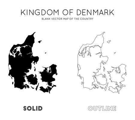 Denmark map. Blank vector map of the Country. Borders of Denmark for your infographic. Vector illustration.